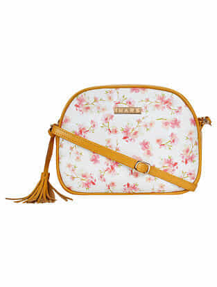 Yellow White Handcrafted Printed Faux Leather Sling Bag