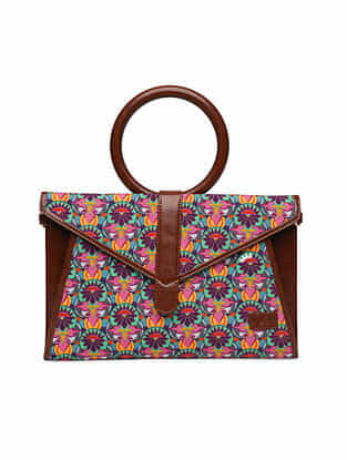Multicolored Handcrafted Printed Faux Leather Sling Bag