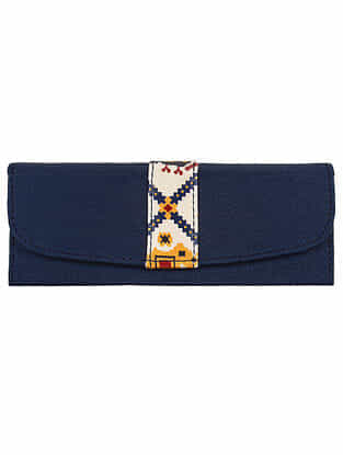 Blue Handcrafted Printed Faux Leather Spectacle Case