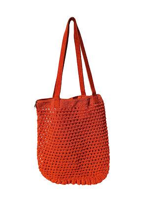 Orange Handcrafted Macrame Yarn Tote Bag