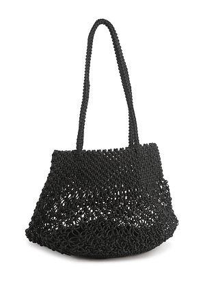 Black Handcrafted Macrame Yarn Tote Bag