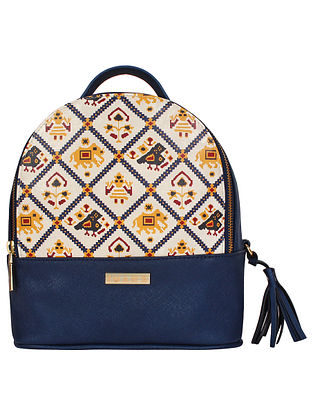 Blue Handcrafted Printed Faux Leather Backpack