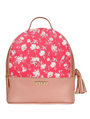 Pink Handcrafted Printed Faux Leather Backpack