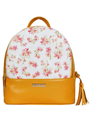 Yellow White Handcrafted Printed Faux Leather Shoulder Bag