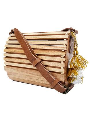Beige Handcrafted Wooden Sling Bag