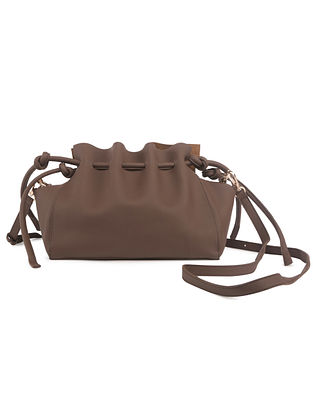 Brown Handcrafted Faux Leather Crossbody Bag