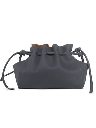 Navy Blue Handcrafted Faux Leather Crossbody Bag