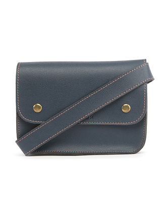Blue Handcrafted Faux Leather Waist Bag
