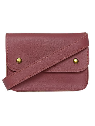 Pink Handcrafted Faux Leather Waist Bag