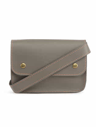 Grey Handcrafted Faux Leather Waist Bag