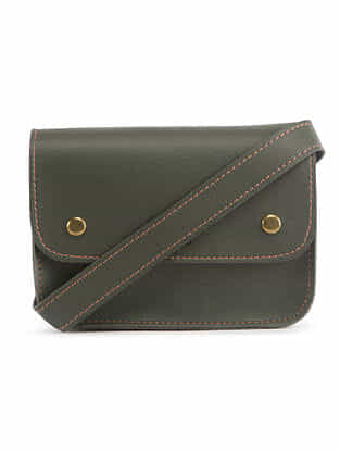 Green Handcrafted Faux Leather Waist Bag