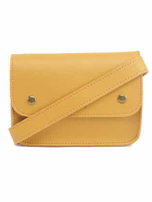 Yellow Handcrafted Faux Leather Waist Bag