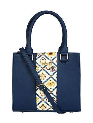 Blue Handcrafted Printed Faux Leather Shoulder Bag
