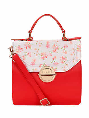 Red Handcrafted Printed Faux Leather Shoulder Bag