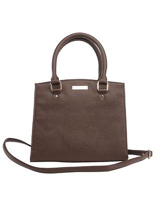 Brown Handcrafted Faux Leather Shoulder Bag
