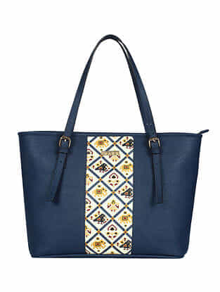 Blue Handcrafted Printed Faux Leather Tote Bag
