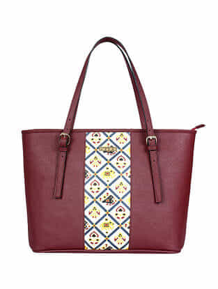 Red Handcrafted Printed Faux Leather Tote Bag