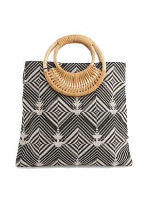 Black Handcrafted Canvas Tote Bag