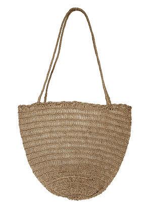 Beige Brown Handcrafted Jute Tote Bag