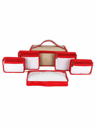 Red Gold Handcrafted Faux Leather Travel Kit (Set of 7)