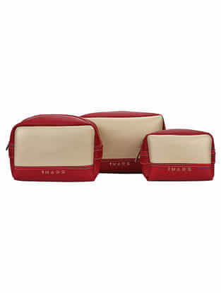 Red White Handcrafted Faux Leather Travel Kit (Set of 3)