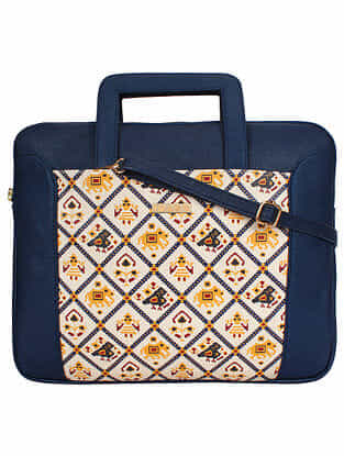 Blue White Handcrafted Printed Faux Leather Laptop Bag