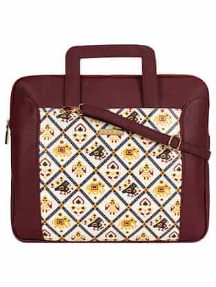 Red Handcrafted Printed Faux Leather Laptop Bag