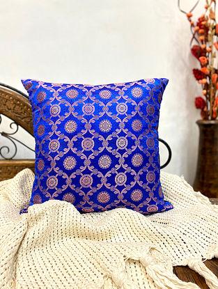 Navy Blue Banarasi Brocade Cushion Cover (Set Of 2) (L-16in ,W-16in)