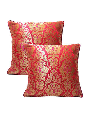Pink Banarasi Brocade Cushion Cover (Set of 2) (L-16in ,W-16in)