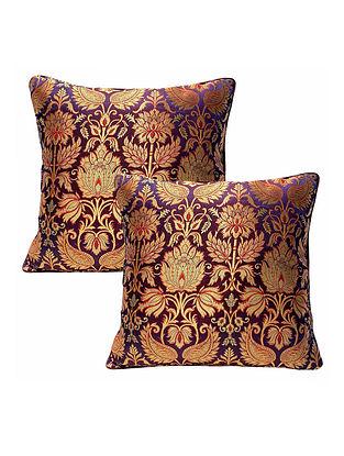 Dual Shade Burgundy Banarasi Brocade Cushion Cover (Set of 2) (L-16in ,W-16in)