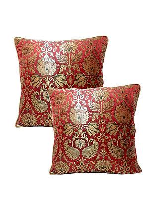 Dual Shade Maroon Banarasi Brocade Cushion Cover (Set of 2) (L-16in ,W-16in)