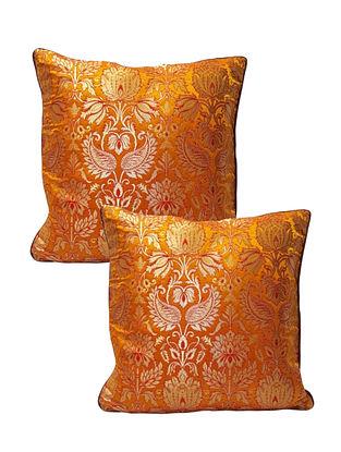 Dual Shade Orange Red Banarasi Brocade Cushion Cover (Set of 2) (L-16in ,W-16in)