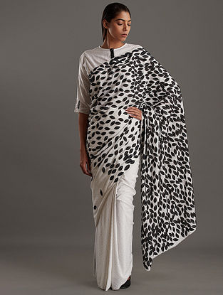 White Hand Block Printed Fine Dots With Leaf Applique Cellulose Blend Saree