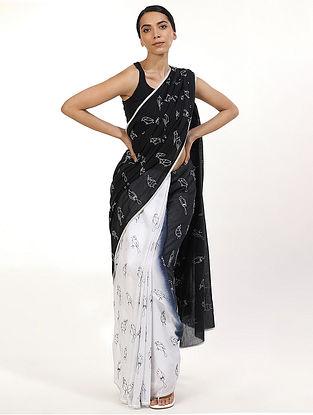 Black Printed Cotton Voile Saree