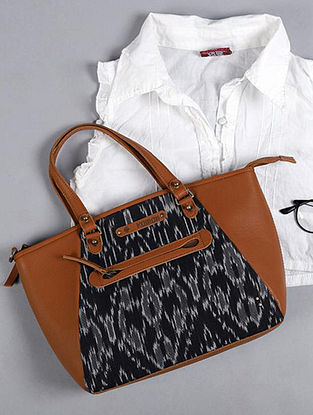 Black Handcrafted Ikat Cotton Leather Tote Bag