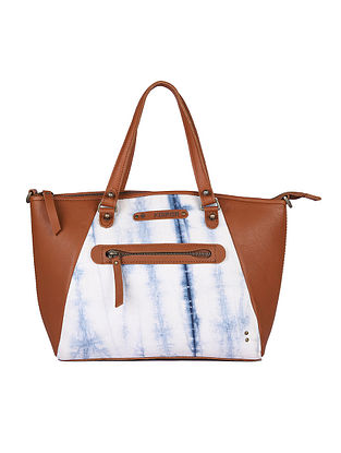 White Handcrafted Canvas Cotton Leather Tote Bag
