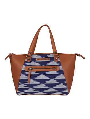 Blue Handcrafted Ikat Cotton Leather Tote Bag