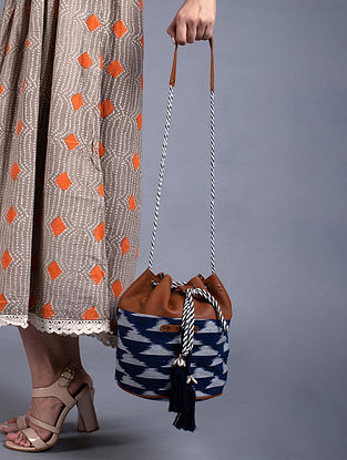 Blue Handcrafted Ikat Cotton Leather Bucket Sling Bag
