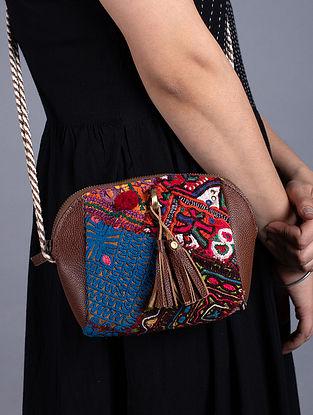 Multicolored Handcrafted Vintage Banjara Leather Sling Bag