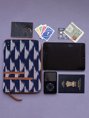 Blue Handcrafted Ikat Cotton Leather Wallet