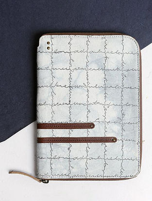White Handcrafted Cotton Canvas Leather Wallet