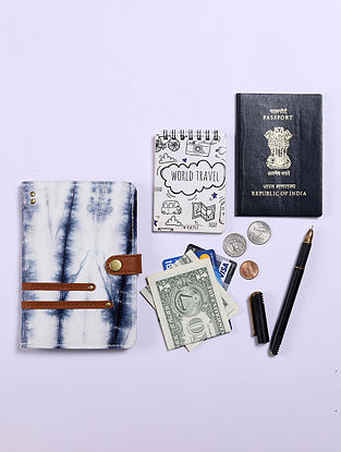 White Handcrafted Canvas Cotton Leather Passport Case