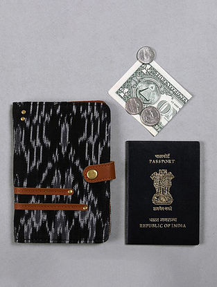 Black Handcrafted Ikat Cotton Leather Passport Case