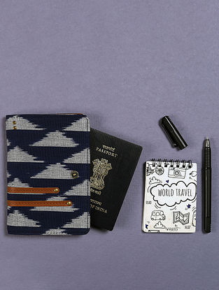 Blue Handcrafted Ikat Cotton Leather Passport Case