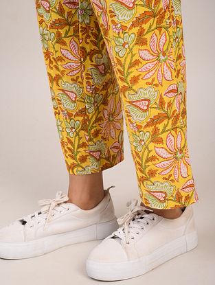 Yellow Block Printed Cotton Pants
