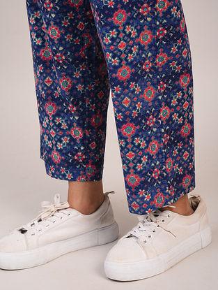 Blue Block Printed Cotton Pants