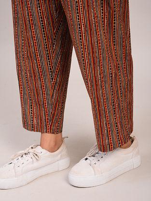 Brown Block Printed Cotton Pants