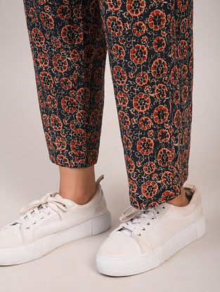 Blue and Maroon Block Printed Cotton Pants