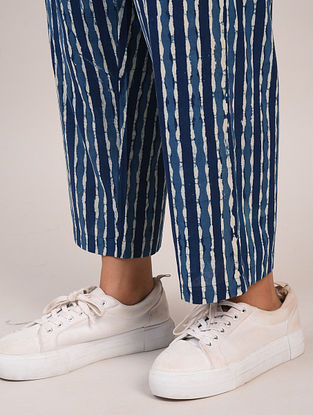 Indigo Blue Block Printed Cotton Pants