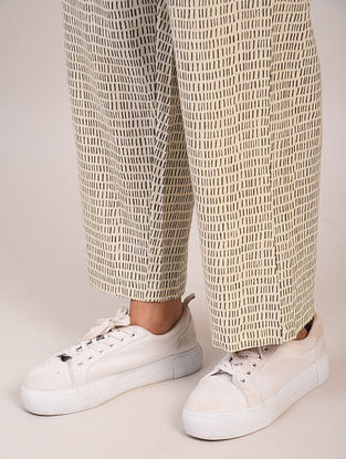 Black and White Block Printed Cotton Pants